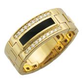 Мужское кольцо мягкое, оникс и дорожки фианитов, желтое золото 585 пробы