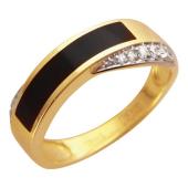 Кольцо мужское с ониксом и фианитами, желтое золото