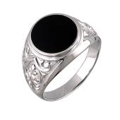 Кольцо мужское перстень с ониксом из серебра