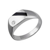 Кольцо мужское с ониксом и фианитом, серебро