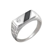 Кольцо мужское с ониксом и фианитом из серебра