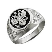 Кольцо Герб Двуглавый Орел из серебра с ониксом
