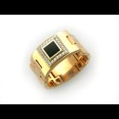 Мужское кольцо мягкое с ониксом квадратным, вокруг фианиты, красное и белое золото 585 проба