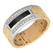 Мужское кольцо, оникс полоса, дорожки фианитов, красное желтое золото 585 проба