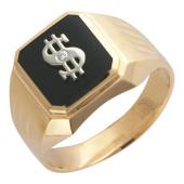 Мужское кольцо, оникс и фианит, знак Доллар, красное и белое золото 585 проба
