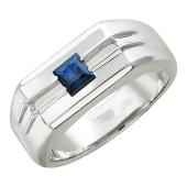 Мужское кольцо, сапфир квадрат, канавки из золота, белое золото 585 проба