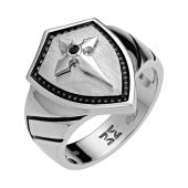 Кольцо мужское Виртус Щит с крестом с сапфирами, серебро с эмалью
