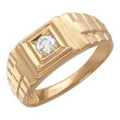 Мужское кольцо, бриллиант, имитация браслета, красное золото 585 проба