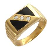 Мужское кольцо с бриллиантами и ониксом, красное золото