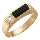 Мужское кольцо, оникс и бриллиант, красное золото 585 проба