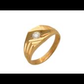 Мужское кольцо с бриллиантом, диагональные линии, красное золото, 585 проба