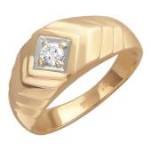 Мужское кольцо, бриллиант, ромбы, красное золото 585 проба