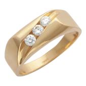 Кольцо мужское с тремя бриллиантами, красное золото