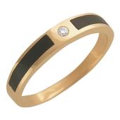 Мужское кольцо, бриллиант, ониксы, тонкая шинка, красное золото, 585 проба