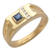 Мужское кольцо, сапфир квадрат, пять бриллиантов, красное золото