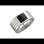 Кольцо мужское с бриллиантами и ониксом, белое золото