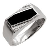 Кольцо мужское оникс и бриллиант, белое золото, 585 проба