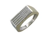 Мужское кольцо, бриллианты выложены квадратом, белое золото 585 проба