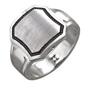 Кольцо мужское с чёрными бриллиантами, белое золото