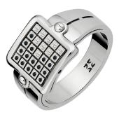 Кольцо мужское с черными и прозрачными бриллиантами, белое золото