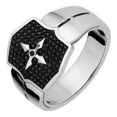 Кольцо мужское с крестом и чёрными бриллиантами, белое золото