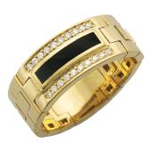 Кольцо мужское мягкое с бриллиантами и ониксом, желтое золото 585 пробы