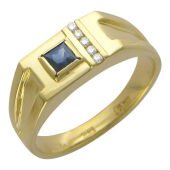 Кольцо с бриллиантами и сапфиром из желтого золота 585 пробы