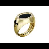 Мужское кольцо, овальная печатка, королевская лилия, оникс, синяя эмаль и бриллианты, желтое золото, 750 проба