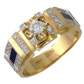 Мужское кольцо, эмаль и бриллианты, желтое золото, 750 проба