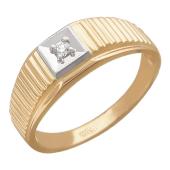 Мужское кольцо, один бриллиант в квадрате, комбинированное золото, 585 проба