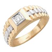 Кольцо мужское с бриллиантом в квадрате, красное и белое золото