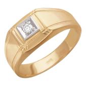Кольцо мужское , бриллиант, комбинированное золото, 585 пробы