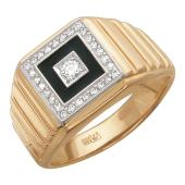 Кольцо мужское, в центре квадрат с эмалью и бриллиантами, комбинированное золото