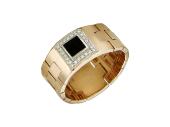 Кольцо мужское с квадратным ониксом и бриллиантами, красное и белое золото 585 пробы