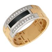 Кольцо мужское мягкое с бриллиантами и ониксом, красное и белое золото 585 пробы