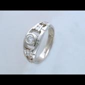 Кольцо мужское с фианитами, серебро