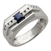Мужское кольцо, квадратный сапфир и бриллианты, белое золото 750 проба