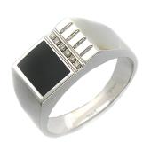 Кольцо мужское с ониксом и шестью бриллиантами, белое золото 750 проба