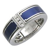 Кольцо мужское с темно-синей эмалью и четырьмя бриллиантами, белое золото 750 проба
