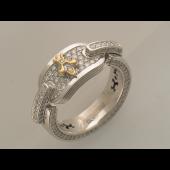 Кольцо мужское Королевская Лилия с бриллиантами, серебро
