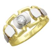 Кольцо мужское дизайнерское с бриллиантом, желтое и белое золото 750 пробы