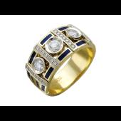 Кольцо с темно-синей эмалью и бриллиантами, желтое и белое золото 750 проба