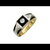 Кольцо мужское Квадрат с бриллиантами и чёрной эмалью, желтое и белое золото 750 проба