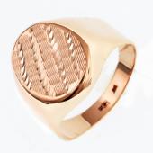 Печатка овальная с алмазными гранями из красного золота 585 пробы