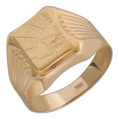 Мужское золотое кольцо, алмазная грань, Паук и Паутина, красное золото, 585 пробы