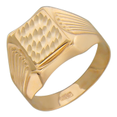 Мужское золотое кольцо, алмазная грань, насечка, красное золото, 585 пробы