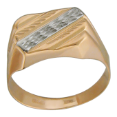 Мужское золотое кольцо, алмазная грань, насечка и родирование по диагонали, красное золото, 585 пробы