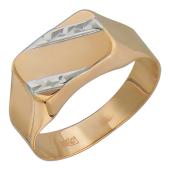 Печатка, красное золото, 585 пробы с  алмазной  огранкой