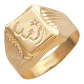 Мужское кольцо мусульманское широкое с алмазным рисунком, красное золото 585 проба