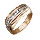 Кольцо мужское с алмазной полосой, красное золото и родирование